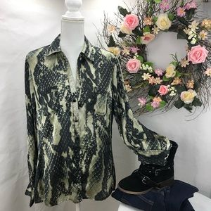 Jones New York satin animal print blouse 14